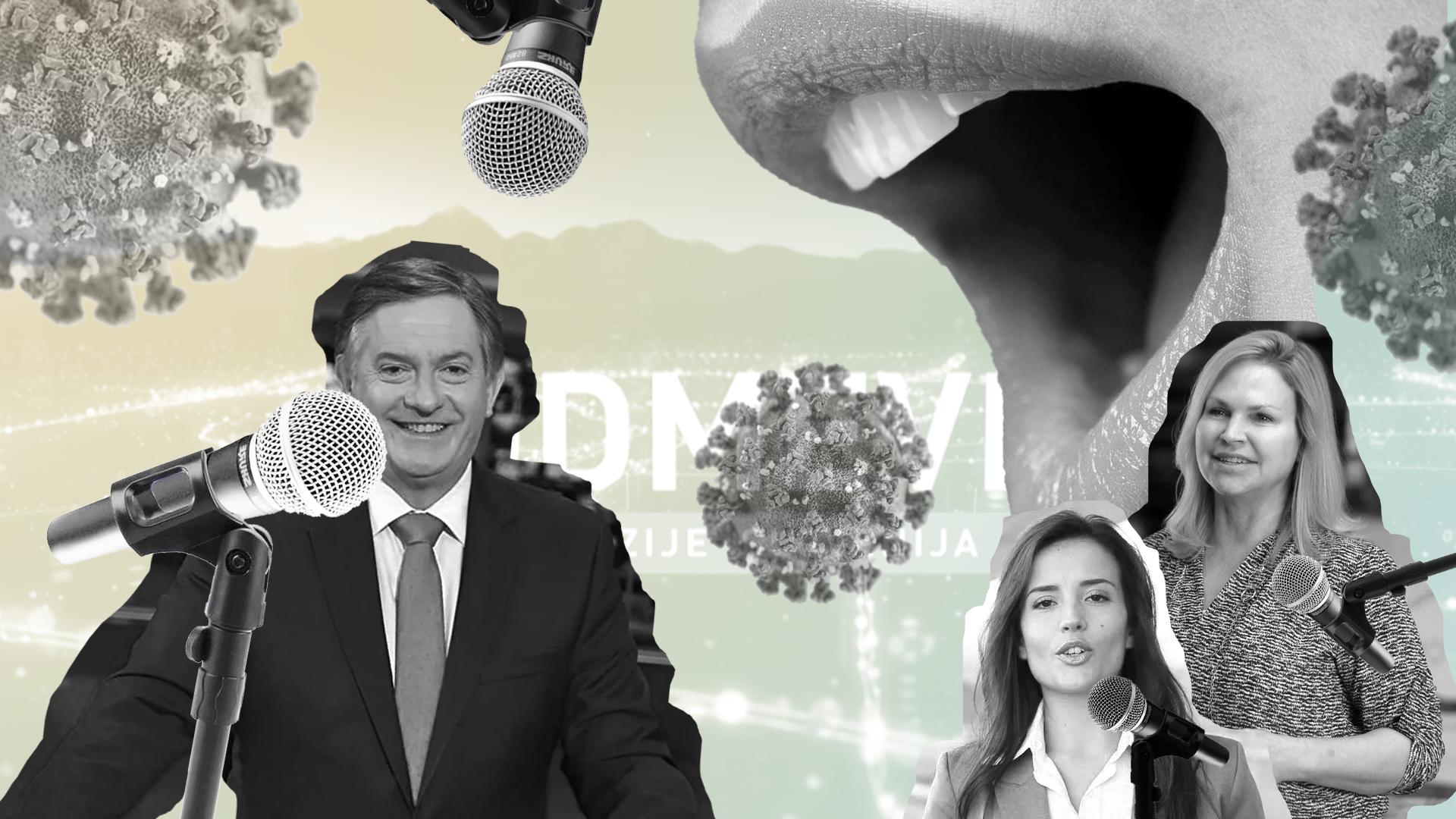 Kolaž fotografij na ozadju oddaje Odmevi, ki prikazuje moškega govorca pred večjim mikrofonom, ženski govorki z manjšimi mikrofoni, v ozadju so odprta usta in slike virusa Covid-19.