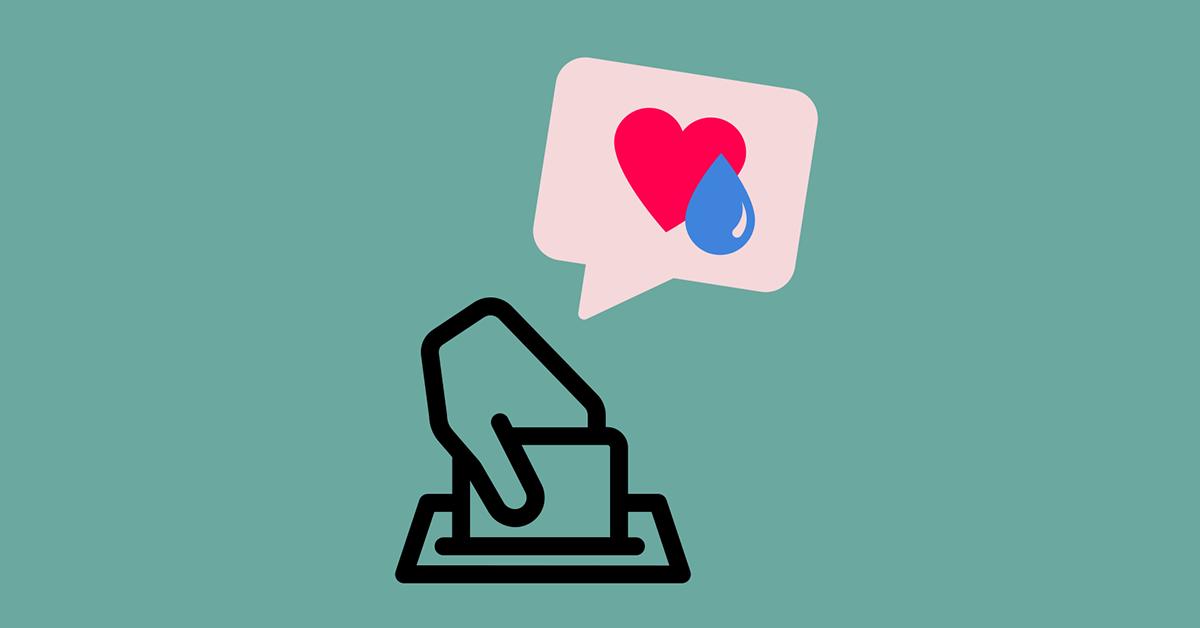 Na sredini slike je grafični prikaz oddaje glasovnice v glasovalno škatlo, nad tem pa je oblaček, v katerem sta srce in kapljica.